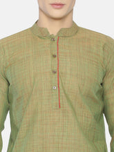 PAROKSH Men light green placket cotton Straight Kurta