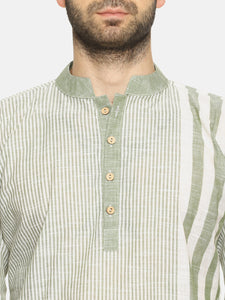 PAROKSH Men olive line detail cotton Straight Kurta
