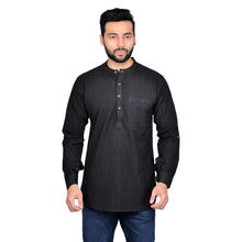 PAROKSH Men Solid black handloom khadi short straight kurta