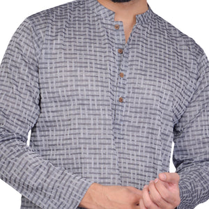 PAROKSH Men checkered charcoal grey cotton Straight Kurta