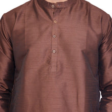 PAROKSH Men Solid Brown Artificial Silk blend Straight Kurta