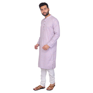 PAROKSH Men Solid purple cotton Straight Kurta