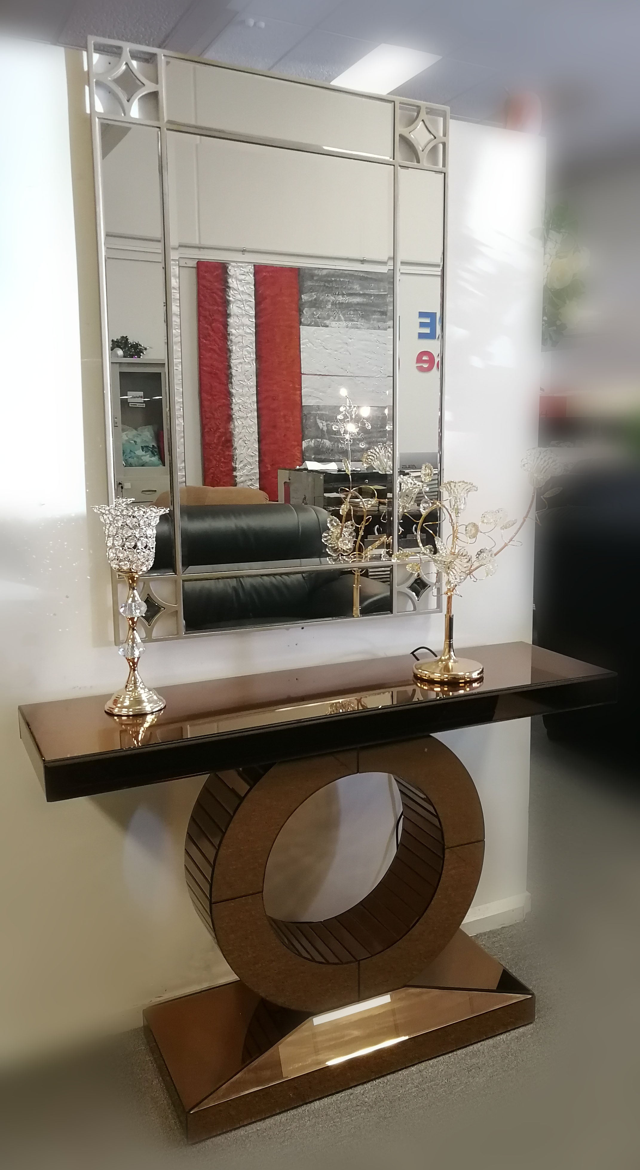 Diamond Rectanglar Mirror With Gold Color Glass Hall Table Empire Furniture Warehouse