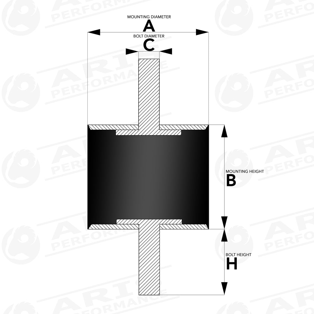 vibration isolation mount male - male