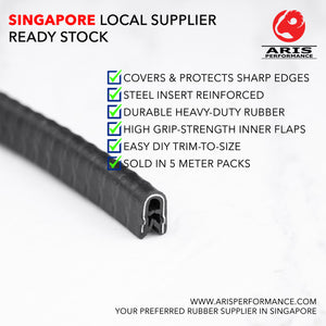 Heavy-Duty U-Shape Flexible Edge Protector Rubber Seal With Steel Insert Reinforced For Sharp or Rough Edges, 5 Meter