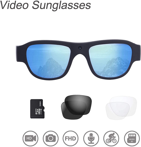 Stabilization, 1080P, 32GB, 16MP Camera, Polarized UV 400 Protection, Video Sunglasses.  Full HD, Outdoor Water-Resistant, Sports Action Camera with 3 sets of Safety Lens (Black)