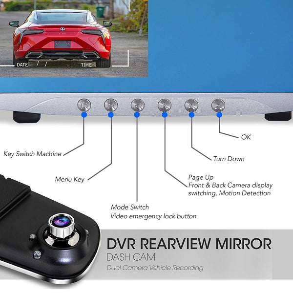 "Dash Cam Rearview Mirror Monitor - 4.3"" DVR Rear View Dual Camera 1080p - Audio - Motion Detection - Parking Assist - Loop Record"