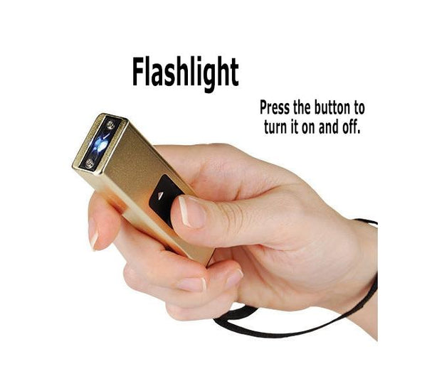 Gold - Micro Quick Stun - 10 million volt - 4.2ma - micro stun gun - flashlight