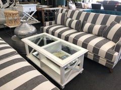Hampton coffee table / grey and white stripe Hampton sofa