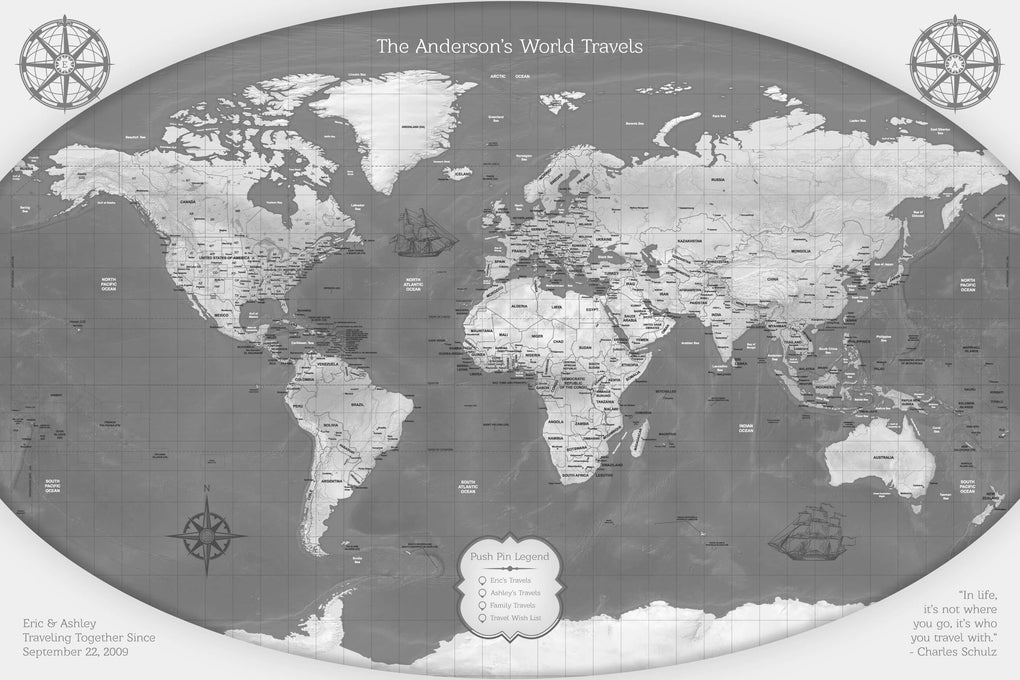Push Pin Maps - Gray Relief World Map Push Pin