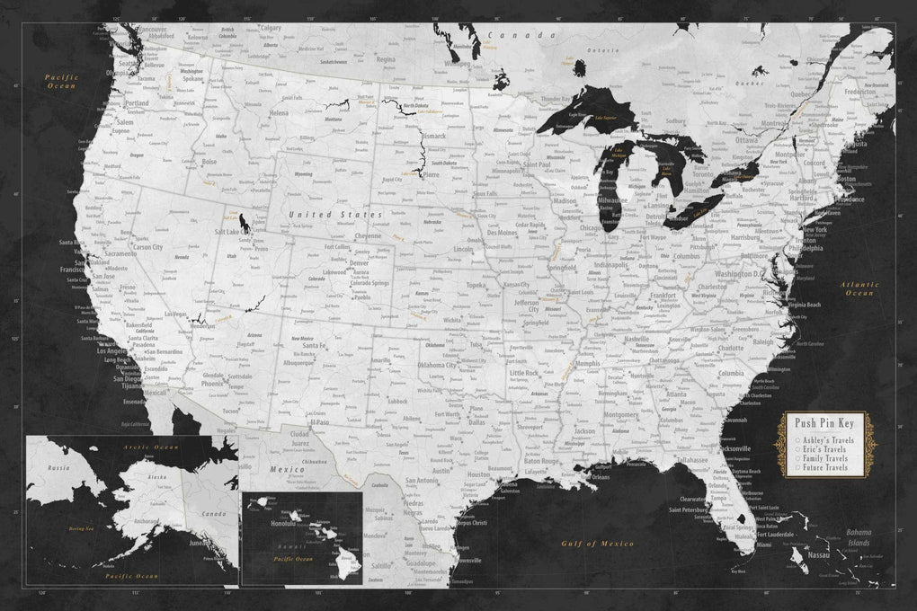 Push Pin Maps - Personalized United States Map with Pins