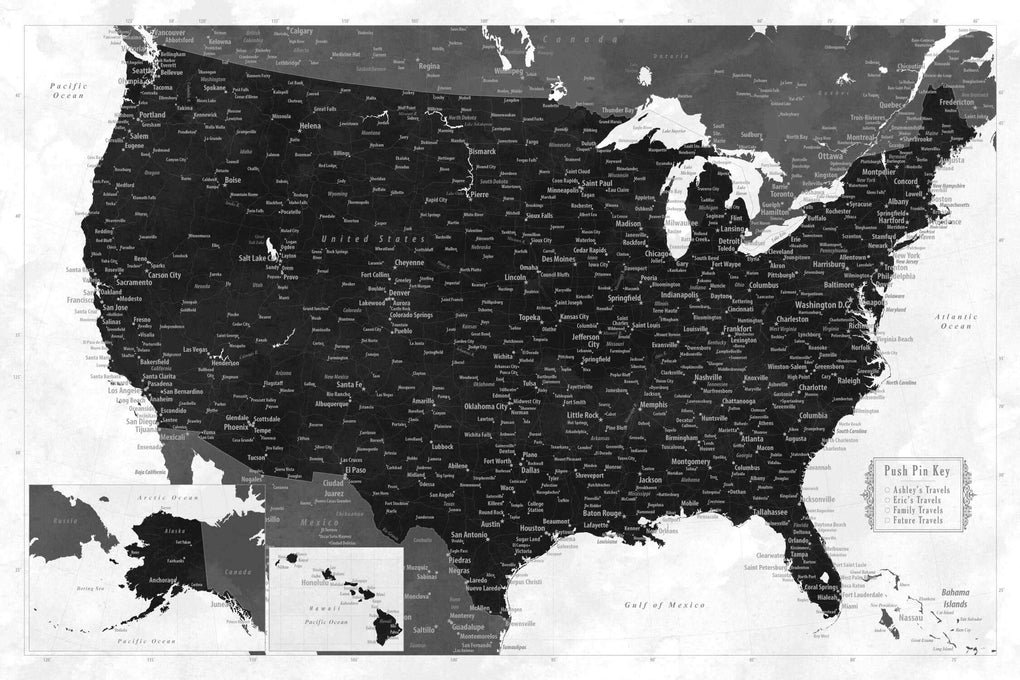 Push Pin Maps - Personalized USA Push Pin Travel Map