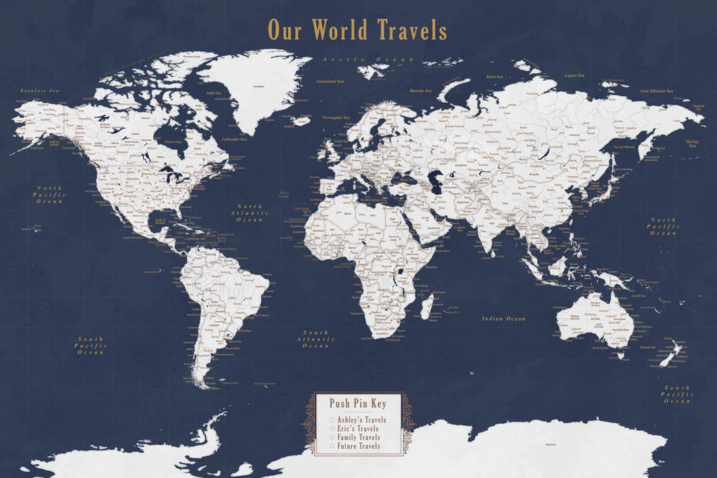 Push Pin Maps - Personalized Push Pin Map of the World