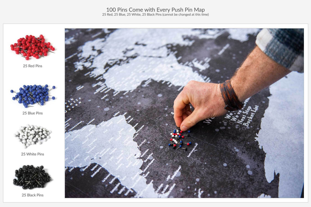Push Pin Maps - Each push pin map comes with 100 pins to mark your adventures