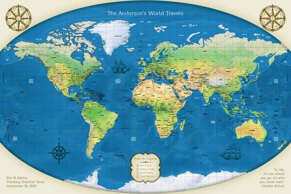 Push Pin Maps - Relief Push Pin Map of the World Travel Gift for Women