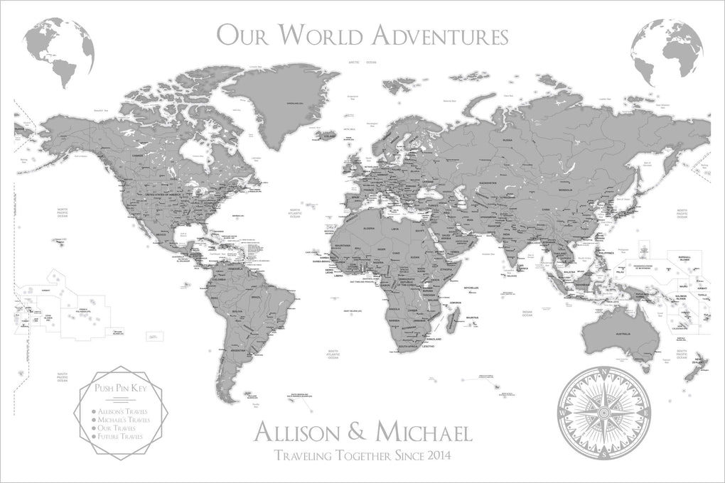 Push Pin Maps - White World Travel Map with Pins