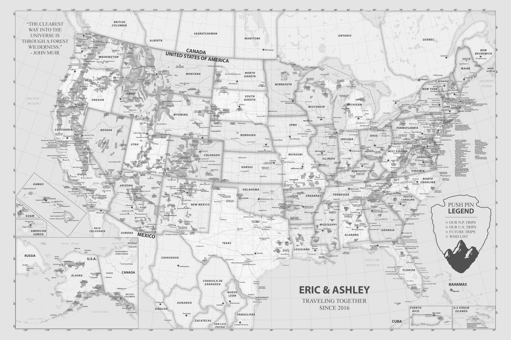 Push Pin Maps - Unique National Park Push Pin Map of the United States
