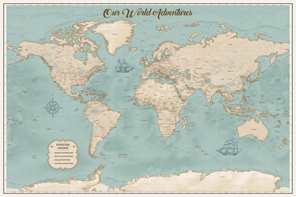 Push Pin Maps - Vintage World Push Pin Map