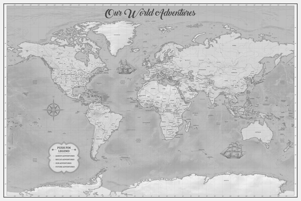 Push Pin Maps - Vintage World Travel Map Push Pin