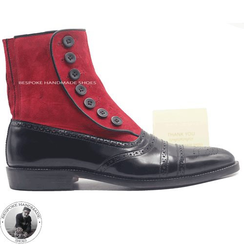 Mens Handmade Black Leather and Suede Leather Boots Buttons Up Ankle High Boots