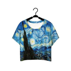 F978 Summer Harajuku Style Girls Van Gogh Leisure Crop Top Graffitieavengifts-eavengifts