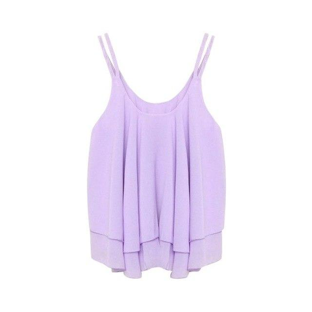Tanks Camis Women Casual Camis Summer Chiffon Tops Double Layer Sleeveless Looseeavengifts-eavengifts