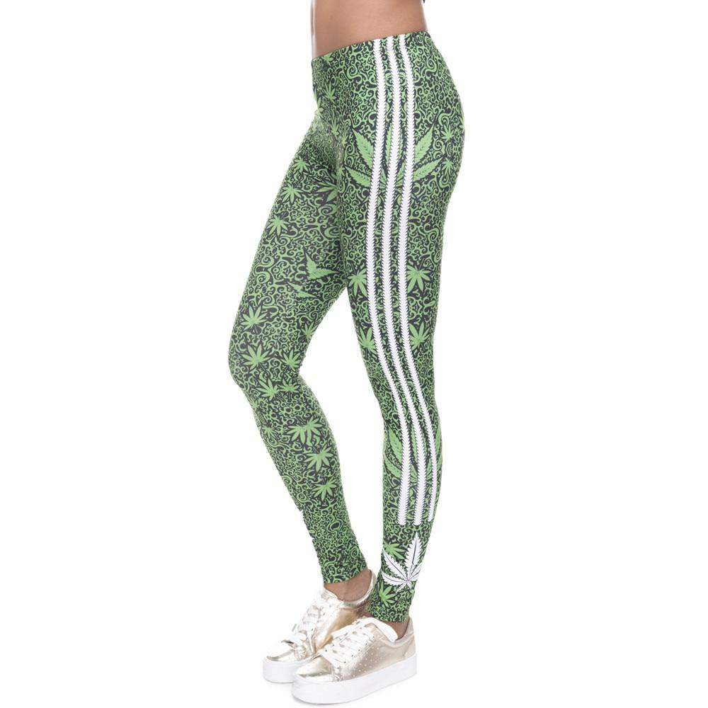 Fashion Stretch Leggings Weeds White Stripes Printing Fitness legging Sexy Silm leginseavengifts-eavengifts