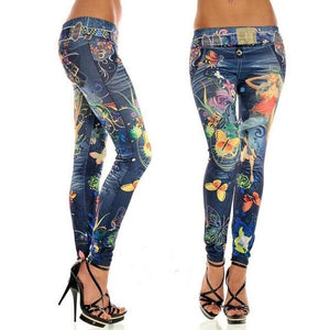 Elastic Ankle-length Slim Punk Style Faux Denim Pencil Pants Sexy Women Leggingseavengifts-eavengifts