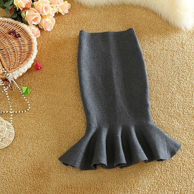 high waist skirts womens 2016 knit midi Fish Tail ruffles hip Skirteavengifts-eavengifts