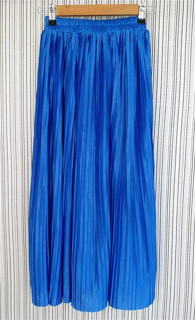 Alphalmoda New Arrival Women Pleated Midi Skirts Elastic Waist Solid Color Shiningeavengifts-eavengifts