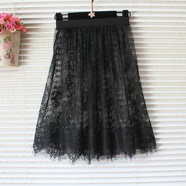Lace skirt summer women skirt lace mesh tulle pencil skirt transparent minieavengifts-eavengifts