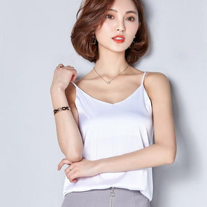 2017 Summer 7 color sleeveless V neck bright satin camis women sexyeavengifts-eavengifts