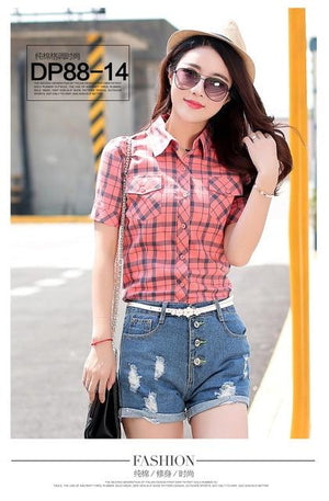 Lossky Summer Women slim shirts Fashion short sleeve Plaid Blouses cotton contractedeavengifts-eavengifts
