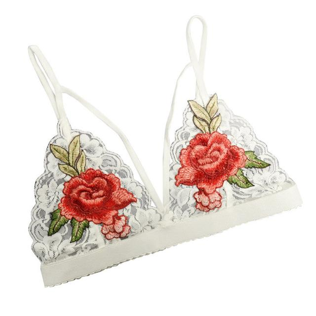 Ladies Floral Sheer Lace Camis Women Vest Bra Flower Embroidery Bra Topeavengifts-eavengifts