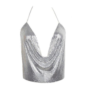 2017 Summer Fashion Women Gold Metal Crop Top Sexy Halter Sequin Chaineavengifts-eavengifts
