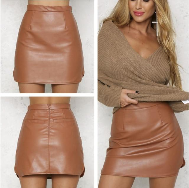 High Waist Pu Faux Leather Women Skirt Real Photo Sexy Pencil Skirteavengifts-eavengifts