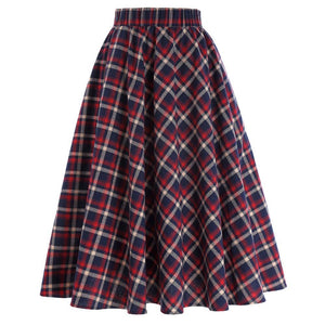 Plaid Skirts Womens Vintage Fashion Grid Pattern A-Line British Style Pleated Skatereavengifts-eavengifts