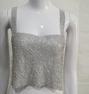 Hot 2017Crystal Mesh Top Womens Diamond Metal Crop Top 2017 Sexy Goldeavengifts-eavengifts