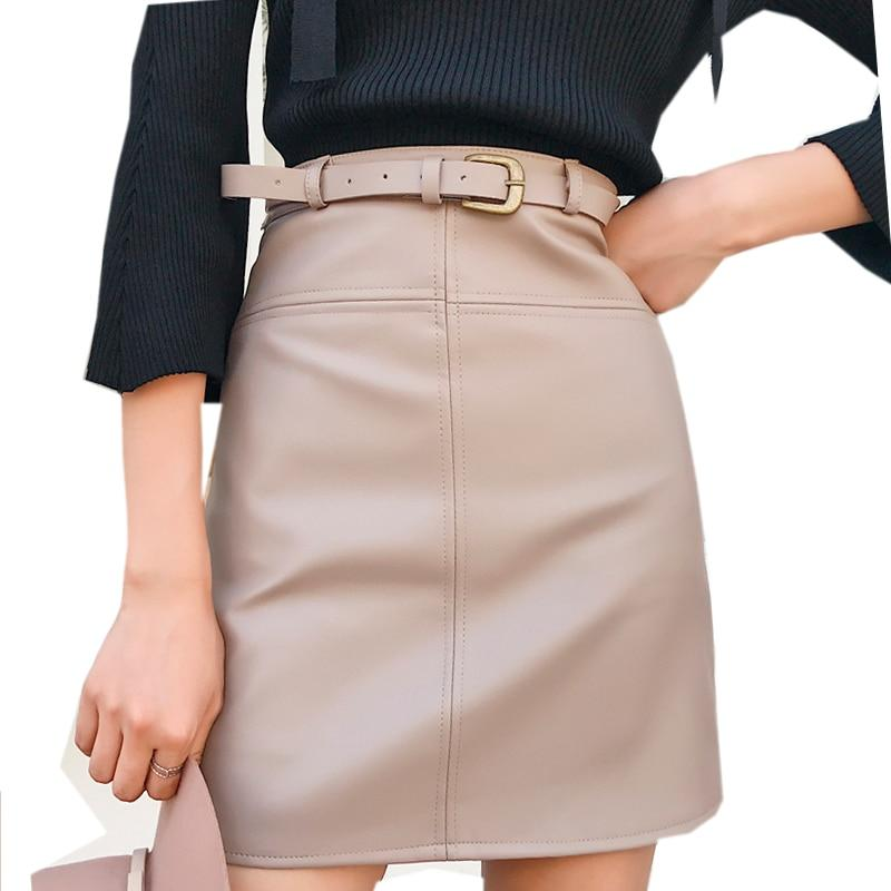 Autumn Winter Beige Black A-Line PU Leather Skirt For Women High Waisteavengifts-eavengifts