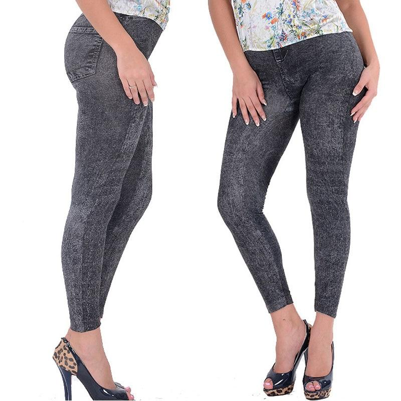 Lady Girl Black Sexy Faux Jean Skinny Jeggings Stretchy Slim Pants Pluseavengifts-eavengifts