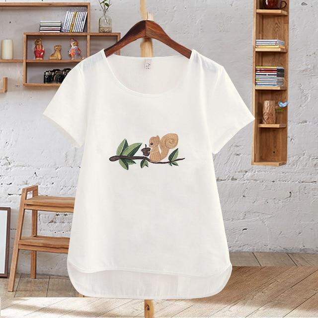 Harajuku Summer Women Tops Cotton T-Shirt Embroidered Flowers Short Sleeve White T-shirteavengifts-eavengifts