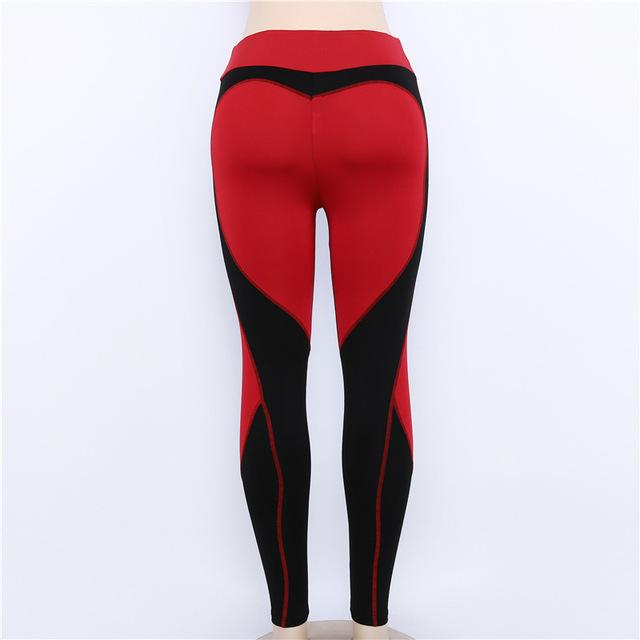 Sexy Push Up Women Leggings Heart Shape Patchwork Red And Blackeavengifts-eavengifts
