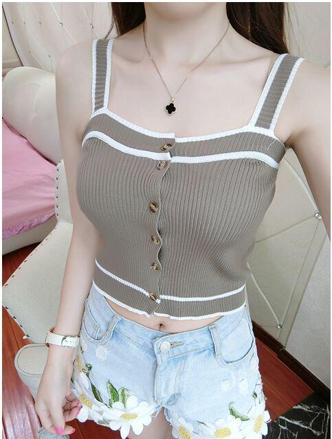 Summer Women Fashion Slim Knitting Lace Up Tank Crop Tops Girls Knittedeavengifts-eavengifts
