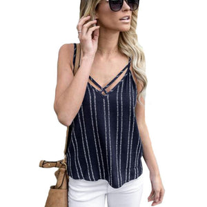 Summer Plus Size Vest Top Casual Women Camisole Fashion Sexy Striped Camieavengifts-eavengifts