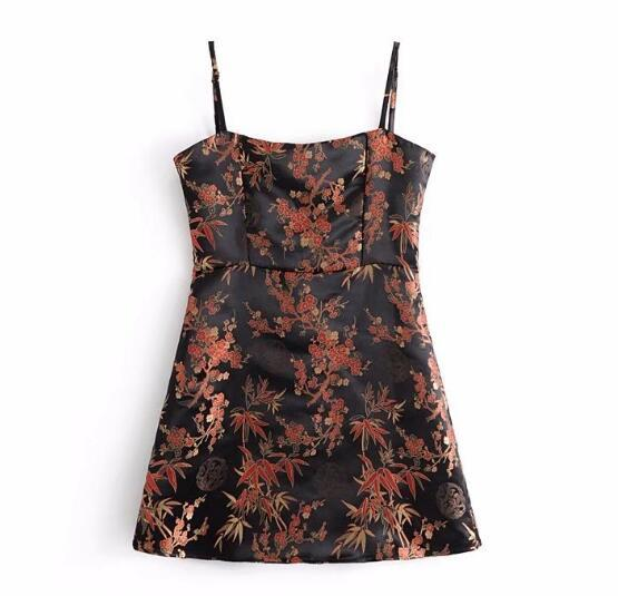 Jacquard Leaves Floral Off shoulder Spaghetti Strap Camis 2018 Women Backless cropeavengifts-eavengifts