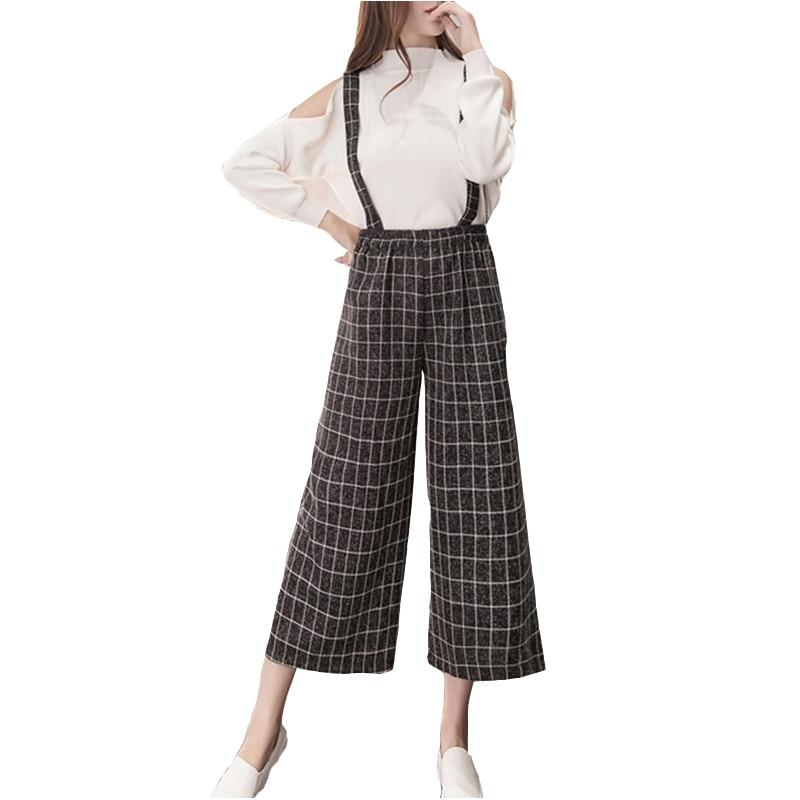 Women Spring Strap Wide Leg Pants 2018 Fashion Loose Bell Bottom Plaideavengifts-eavengifts
