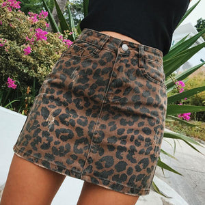 Sexy Leopard print denim skirt women Summer bodycon high waist pencil skirteavengifts-eavengifts