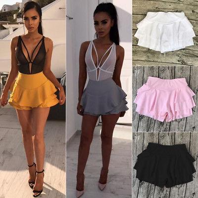 Women Girl Summer High Waist Frill Ruffle Flared Pleated Short Mini Shortseavengifts-eavengifts