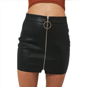 Office Lady IntellectualSexy Metal Ring Zipper Bag Hip Tight Skirt eavengifts-eavengifts