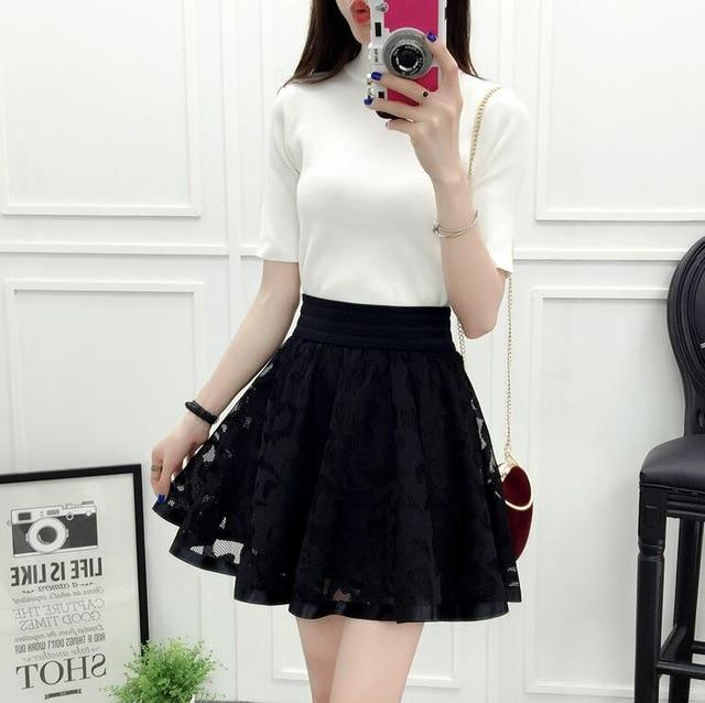 2018 New Spring Summer Women Black Mini Skirt Korean Elastic High Waisteavengifts-eavengifts